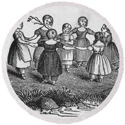 Girls Playing, 1844 Round Beach Towel