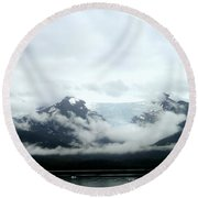 Glacier Mountain Round Beach Towel by Mindy Newman