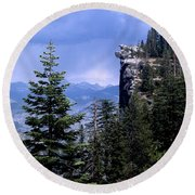 Glacier Point From Four Mile Trail Round Beach Towel