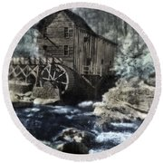 Glade Creek Mill In Infrared. Round Beach Towel