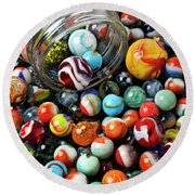 Glass Jar And Marbles Round Beach Towel