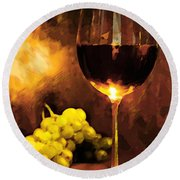 Glass Of Wine And Green Grapes By Candlelight Round Beach Towel