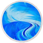 Glassworks In Blue Round Beach Towel