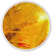Glassworks Series-gold I Round Beach Towel