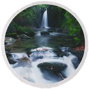 Glencar, Co Sligo, Ireland Waterfall Round Beach Towel