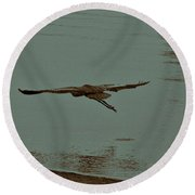 Gliding Inches Above The Water Round Beach Towel