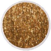 Glistening Gold Prairie Grass Abstract Round Beach Towel
