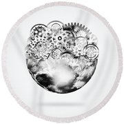 Globe With Cogs And Gears Round Beach Towel