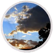 Glorious August Sunset Round Beach Towel