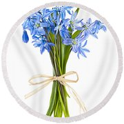 Blue Wildflower Bouquet Round Beach Towel