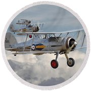 Gloster Gladiator Round Beach Towel by Pat Speirs