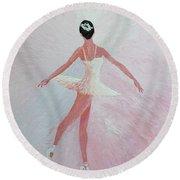 Glowing Ballerina Original Palette Knife  Round Beach Towel