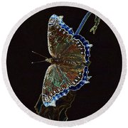 Glowing Butterfly Round Beach Towel