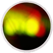 Glowing Orbs Of Yellow And Red Round Beach Towel