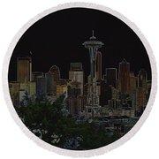 Glowing Seattle Skyline Round Beach Towel