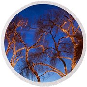 Glowing Trees Round Beach Towel