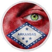 Go Arkansas  Round Beach Towel by Semmick Photo