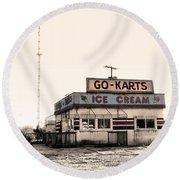 Go-karts - Wildwood New Jersey Round Beach Towel