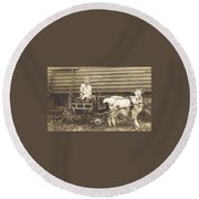 Goat Wagon Round Beach Towel