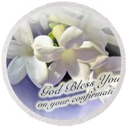 God Bless You On Your Confirmation Floral Greeting Card Round Beach Towel