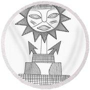 God Of Sun Round Beach Towel by Michal Boubin