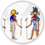 Gods And Goddess Of Ancient Egypt Round Beach Towel by Michal Boubin
