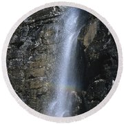 Going To The Sun Road Waterfall Round Beach Towel