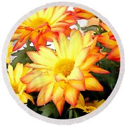 Gold And Red Autumn Mums Round Beach Towel