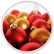 Gold And Red Xmas Balls Round Beach Towel