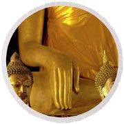 Gold Buddha Figures Round Beach Towel
