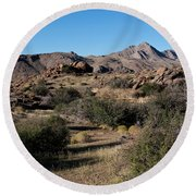 Gold Butte Tumbling Terrain  Round Beach Towel