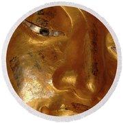 Gold Face Of Buddha Round Beach Towel