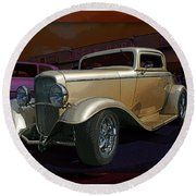 Gold Hot Rod Round Beach Towel