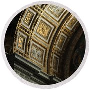 Gold Inlay Arches St. Peter's Basillica Round Beach Towel