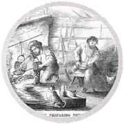 Gold Mining Camp, 1853 Round Beach Towel