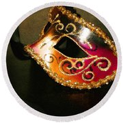 Gold Scroll Masquerade Mask Round Beach Towel