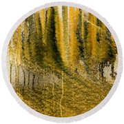 Golden Autumn Forest Round Beach Towel