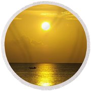 Golden Bahamas Sunset Round Beach Towel