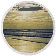 Golden Blue Round Beach Towel