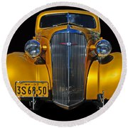 Golden Chevrolet Round Beach Towel