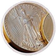 Golden Coins II Round Beach Towel