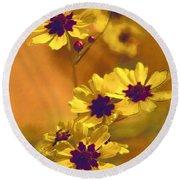 Golden Coreopsis Wildflowers  Round Beach Towel