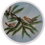 Golden Crowned Kinglets Round Beach Towel