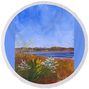 Golden Delaware River Round Beach Towel