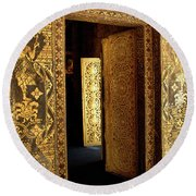 Golden Doorway 2 Round Beach Towel