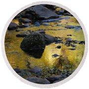 Golden Fall Reflection Round Beach Towel