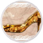 Golden Floral Royalty Shoe Round Beach Towel