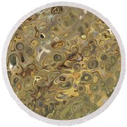 Golden Fluidity Round Beach Towel
