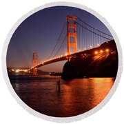 Golden Gate Bridge At Night 2 Round Beach Towel