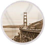 Golden Gate Bridge In Sepia Round Beach Towel